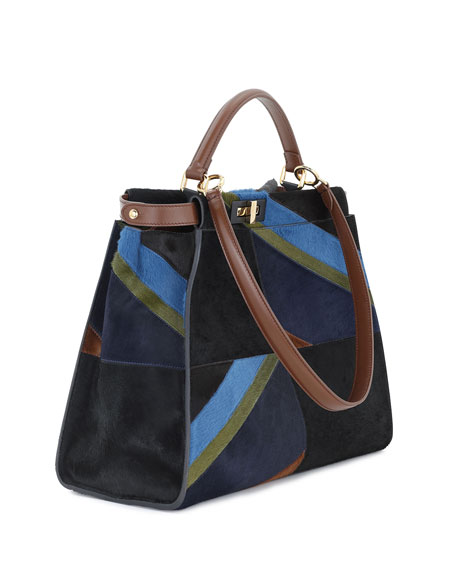 Peekaboo Large Calf Hair Marquetry Satchel Bag
