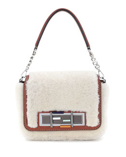 3Baguette Shearling Fur Shoulder Bag