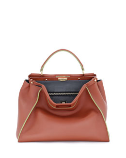 Peekaboo Painted-Edge Leather Tote Bag