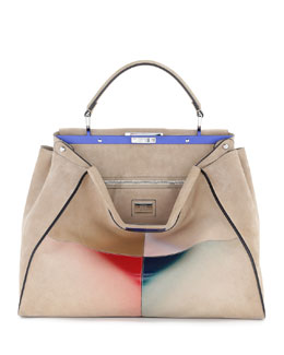 Shaded Airbrushed Suede Peekaboo Bag