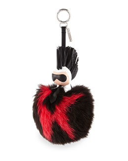 Super Karlito Fox Fur Purse Charm, White/Black
