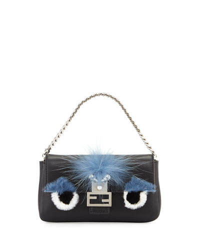 Baguette Micro Monster Eyes Fur Bag, Black