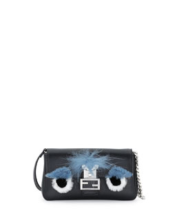 Micro Fur-Trimmed Monster Baguette Bag, Black
