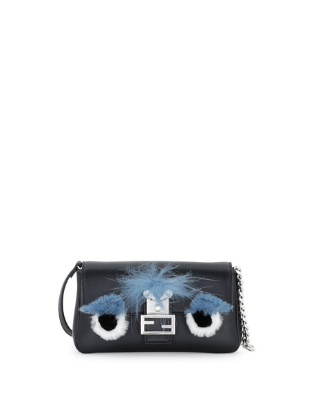 Fendi Micro Fur-Trimmed Monster Baguette Bag, Black