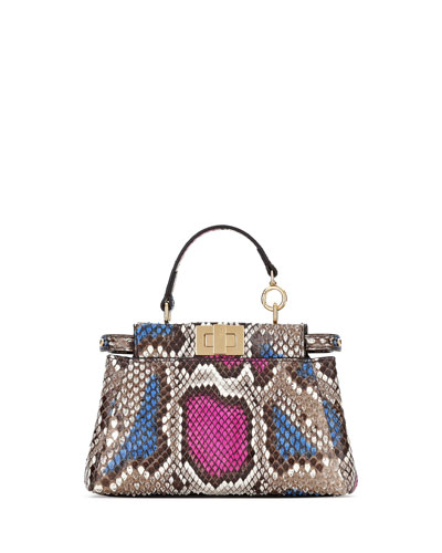 Python Micro Peekaboo Satchel Bag, Multicolor