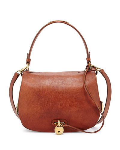 Double-Flap Leather Saddle Bag, Vintage Brown
