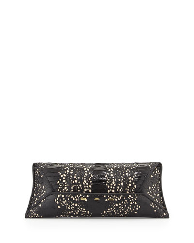 Ostrich-Leg Lace Clutch Bag, Black
