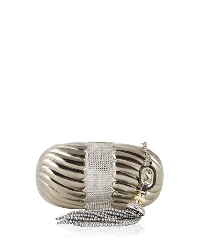 Ribbed Metallic Soap Dish Clutch Bag