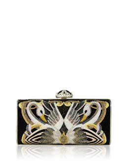 Soft Sided Rectangle Clutch Bag, Black Swan Pattern