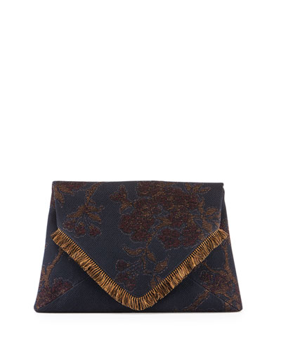 Floral-Embroidered Fringe Envelope Clutch Bag