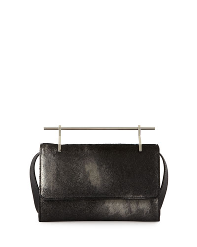 Fabricca Calf-Hair Satchel Bag, Metallic Black