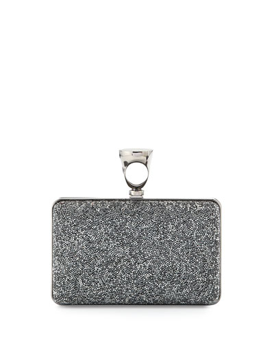 Micro Crystal Ring-Top Clutch Bag, Gray