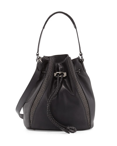 Edam Python-Trimmed Bucket Bag, Black