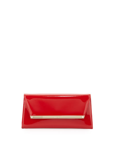 Margot Patent Leather Clutch Bag, Red