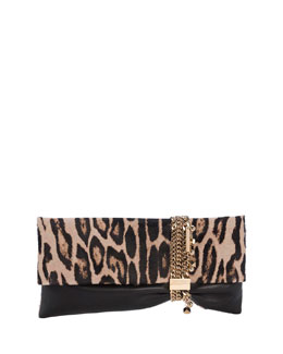 Chandra Leopard-Print Half Calf Hair Charm Clutch Bag