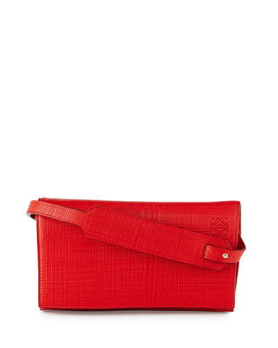 Crosshatched Leather Flap-Top Clutch Bag
