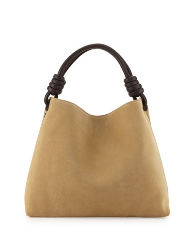 Flamenco Knotted Suede Hobo Bag, Beige
