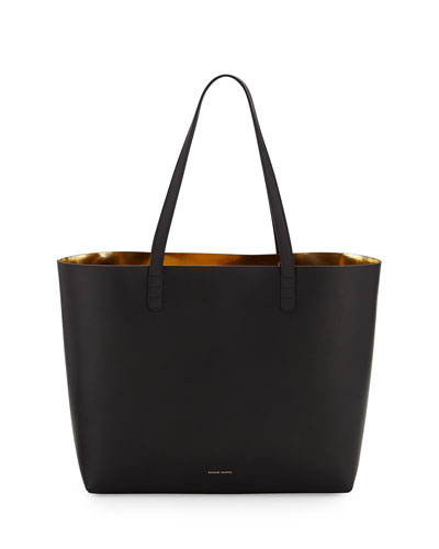 Vegetable-Tanned Leather Large Tote Bag, Black/Gold