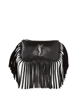 Monogram Small Fringe Flap-Less Key Pouch Bag, Black