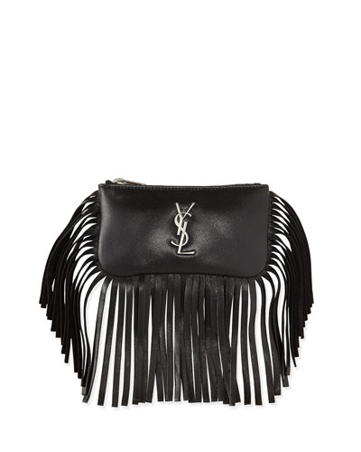 Monogram Small Fringe Flap-Less Key Pouch Bag, Black