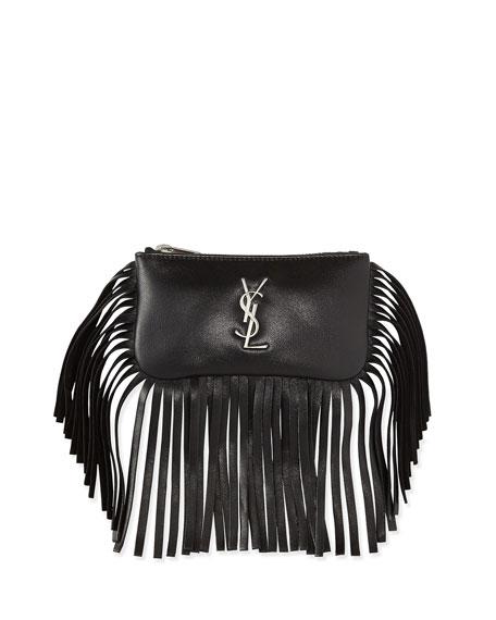0c7f8c5ebcb Saint Laurent Monogram Small Fringe Flap-Less Key Pouch Bag, Black
