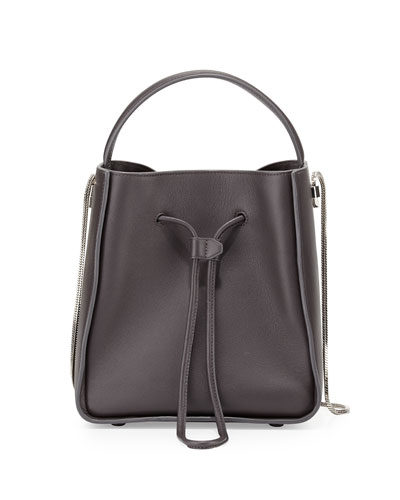 Soleil Small Drawstring Bucket Bag, Charcoal