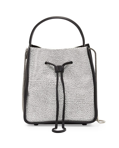 Soleil Small Drawstring Bucket Bag, White/Black