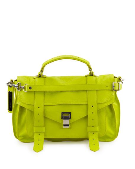 PS1 Medium Lux Leather Satchel Bag, Sulfur
