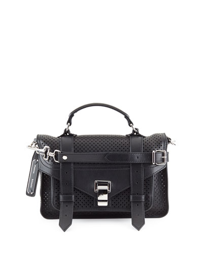 PS1 Tiny Perforated Leather Satchel Bag, Black