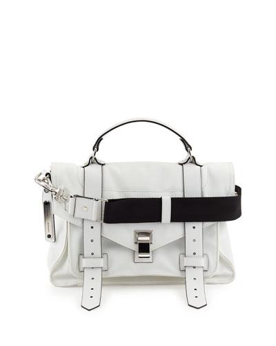 PS1 Medium Nylon Satchel Bag,Optic White