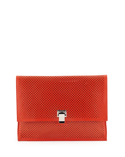 Large Perforated Leather Lunch Clutch Bag, Fire Red