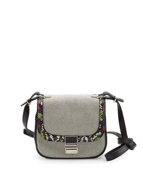 Kent Tiny Canvas & Snakeskin Shoulder Bag, Black/White