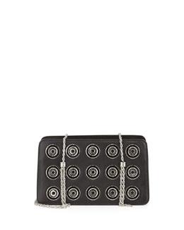 Boxy Chain Calfskin Shoulder Bag, Black