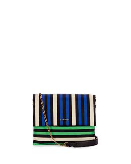 Mini Sugar Nylon Striped Shoulder Bag, Blue/Green/White