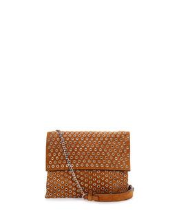 Mini Sugar Grommet Leather Shoulder Bag, Tan