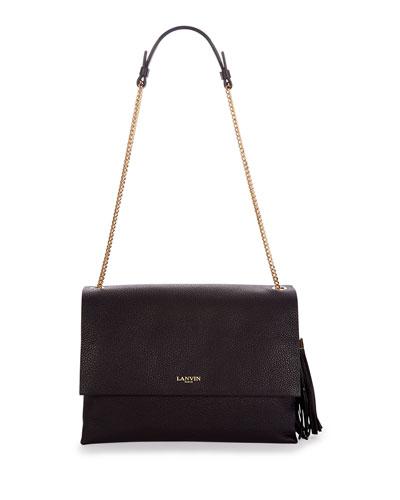 Medium Sugar Calfskin Shoulder Bag, Black