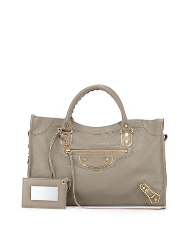 Metallic Edge City Bag, Gray