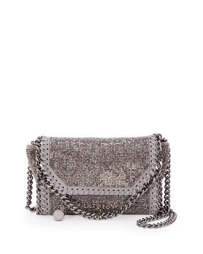 Tiny Metallic Beaded Fold-Over Crossbody Bag, Dark Silvertone