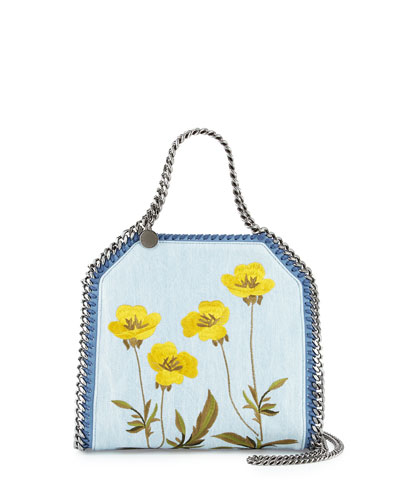 Falabella Mini Embroidered Denim Tote Bag