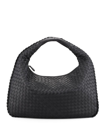Veneta Intrecciato Medium Hobo Bag, Black