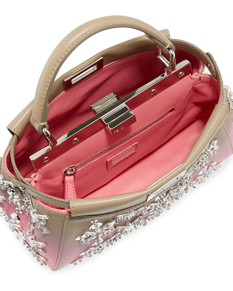 Peekaboo Mini Embellished Leather Satchel Bag, Gray/Pink