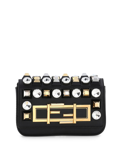 Baguette Mini Studded/Rhinestone Bag, Black Multi