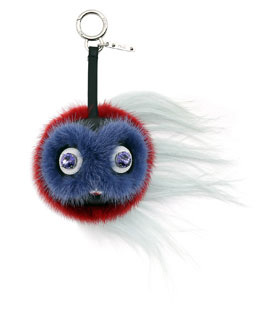 Monster Fur Key Chain for Handbag, Coral