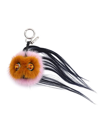 Mini Beak Mohawk Fur Monster Charm for Handbag, Orange/Pink/Navy
