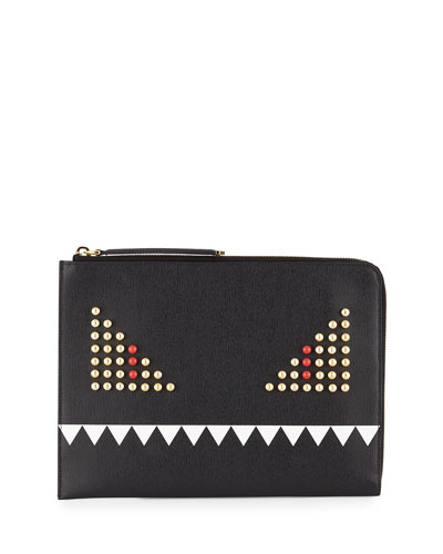 Monster Face Leather Clutch Bag, Black