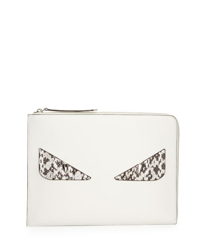 Flat Leather & Snakeskin Monster Pouch, White