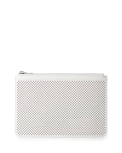 Perforated Leather Medium Zip Pouch Bag, Optic White