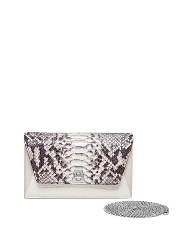 Anouk Mini Chain Python Clutch Bag, Brown Pattern