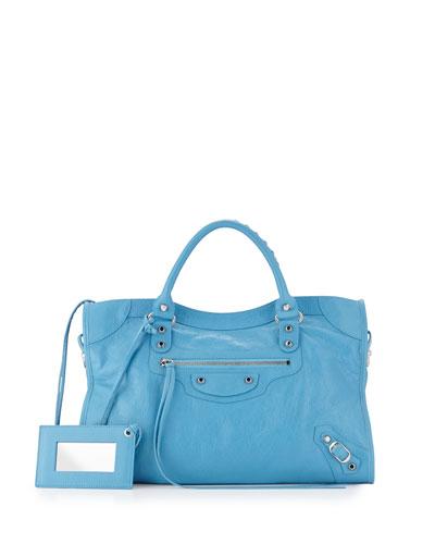 Metallic Edge Classic Mini City Crossbody Bag, Light Blue
