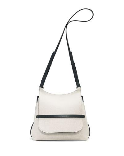 Sideby Canvas Shoulder Bag, Natural/Black